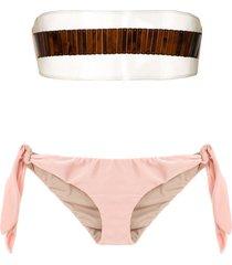 adriana degreas x cult gaia strapless bikini set - neutrals