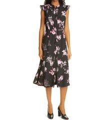 judith & charles operetta floral print dress, size 4 in black/raspberry print at nordstrom