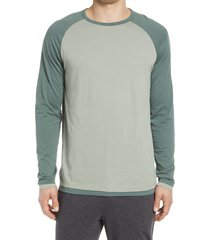 men's vince regular fit double layer baseball crewneck shirt, size xx-large - green