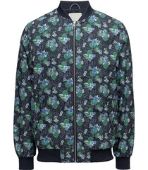 pilot jacket with print - grs bomberjack jack blauw knowledge cotton apparel
