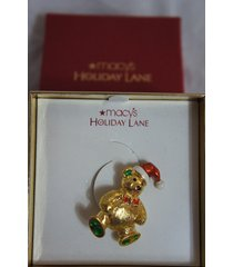macy's holiday lane pin gold winter christmas red hat teddy bear brooch