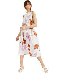 alfani printed drawstring-waist dress, created for macy's