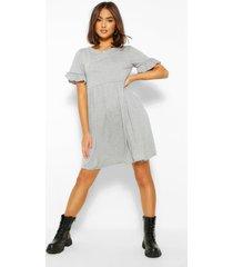 basic gesmokte jurk met franjes mouwen, grijs gemêleerd