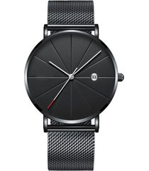 reloj hombre cuarzo delgado pulso malla fecha 1296 negro