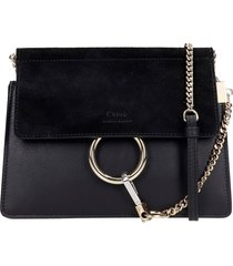 chloé faye mini shoulder bag in black suede and leather