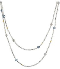 24k yellow gold, moonstone & round pearl beaded necklace
