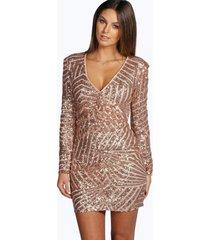 boutique bodycon jurk met pailletten en panelen, nude