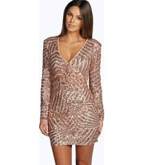 boutique sequin panelled bodycon dress, nude