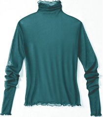 shirt met lange mouwen uit biologische zijde, smaragd 34