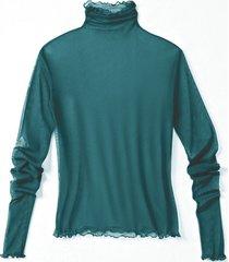 shirt met lange mouwen uit biologische zijde, smaragdgroen 40