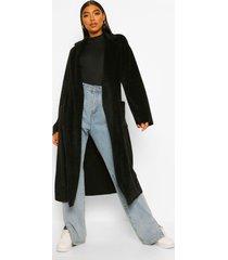 tall lange geborstelde nepwollen jas met ceintuur, black