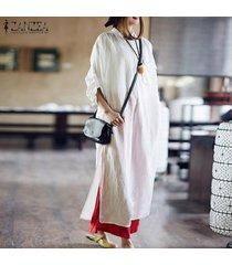 zanzea mujeres retro larga camisa de vestir informal de gran tamaño kaftan alta de split vestido a media pierna kaftan -blanquecino