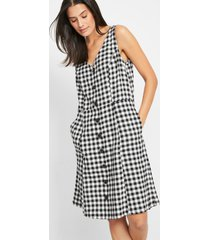 geweven jurk met knoopsluiting