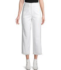 frayed cropped cotton blend pants