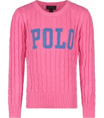 ralph lauren pink sweater for girl with logo