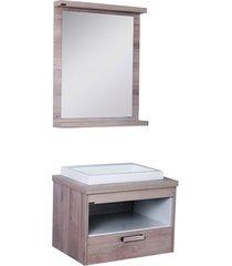 conjunto para banheiro com cuba zurique 61x61cm natura e branco