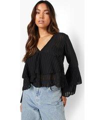 doorschijnende gestreepte blouse met v-hals en ruches, black