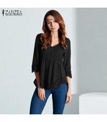 zanzea blusas de las mujeres de encaje elegante camisas otoño blusas tops asimétrico sólido ocasional sexy cuello en v con capucha de manga 3/4 (negro) -negro