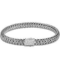 classic chain' birthstone diamond sapphire sterling silver bracelet - april