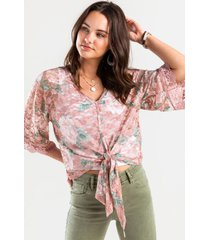 alivia lace front tie blouse - rose