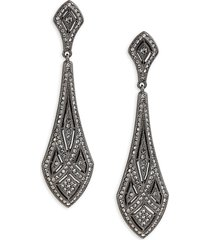 adriana orsini women's black rhodium-plated sterling silver & crystal drop earrings