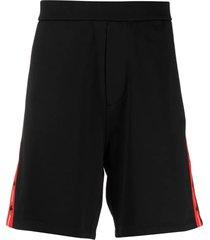 black cotton-blend shorts