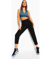 geweven slim fit broek met naaddetail, black