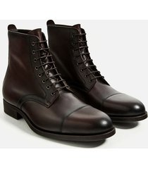 handmade men's dark brown cap toe ankle boots, men brown laceup leather boots