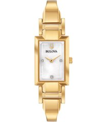 bulova women's diamond-accent gold-tone stainless steel bangle bracelet watch 18x33mm