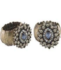 anel armazem rr bijoux regulável cristal azul montana ouro velho