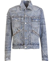 amiri bandana print trucker jacket