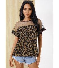 yoins brown leopard mesh patchwork crew cuello camiseta de manga corta