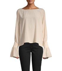 gianne open bell sleeve silk blouse