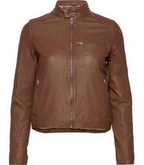 carli thin leather jacket leren jack leren jas bruin mdk / munderingskompagniet