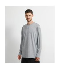 camiseta manga longa com gola henley | viko | cinza | g