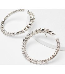 womens circle of life diamante earrings - silver