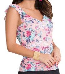 blusa alyssa rosado-verde  para mujer croydon
