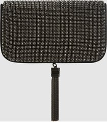 reiss vienna - embellished clutch bag in black, womens