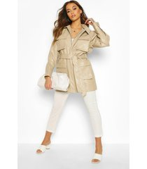 utility pocket leather look jacket, ecru