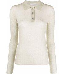12 storeez sheer knit polo top - green