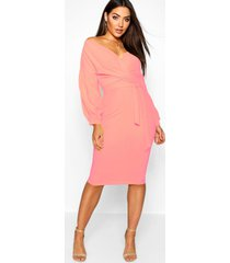 off the shoulder wrap midi bodycon dress, coral blush