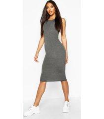 sleeveless midi dress, charcoal