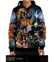 kiss rockstar band all over print zipper hoodie