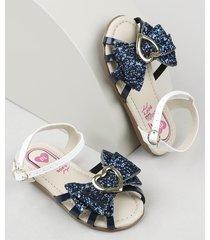 sandália infantil molekinha com laço e glitter azul escuro