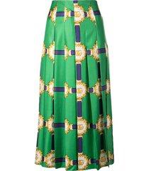 green double g patterned midi skirt