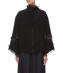 frayed edge georgette blouse