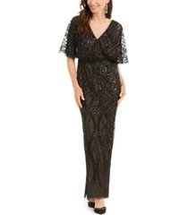 adrianna papell embellished dolman-sleeve gown