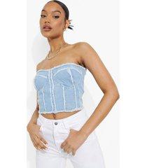 denim strapless bralette met patches, light blue