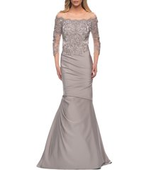la femme lace bodice mermaid gown, size 8 in silver at nordstrom