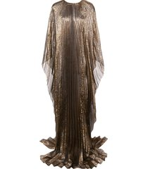 oscar de la renta cape-style pleated evening gown - gold